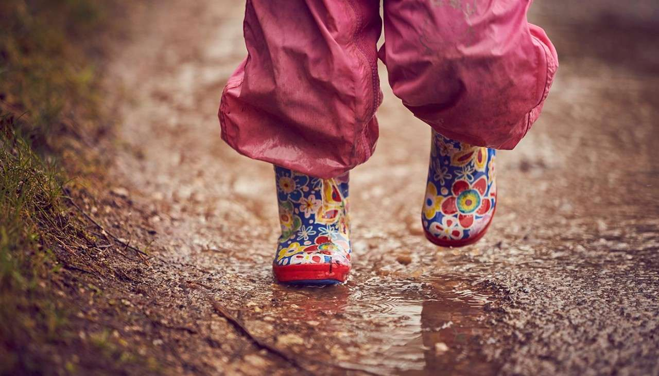 Wellies splashing in a puddle