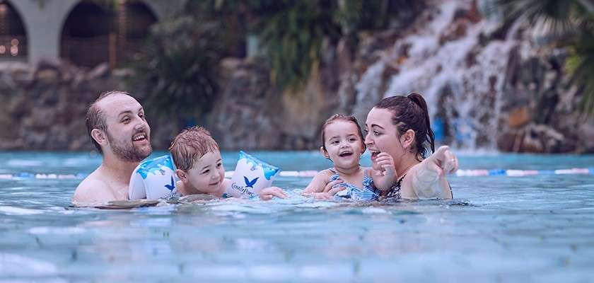 Family swimming in the Subtropical Swimming Paradise