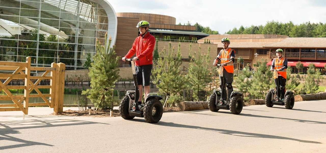 Guests using segways