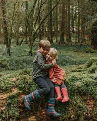 Two children sat in the forest