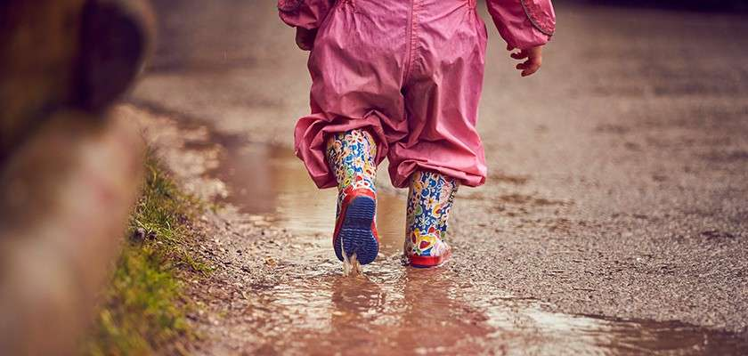 Wellies in a puddle