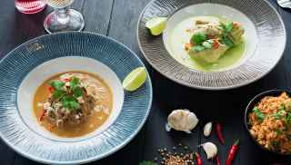 Beef rendang thai green curry