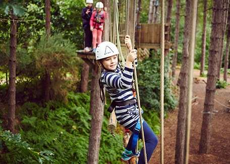 Girl in harness and helmet walking across ropes on Aerial Adventure activity